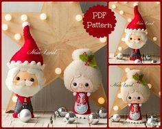 Santa and Mrs. Santa Tree ornaments. Cute Christmas PDF