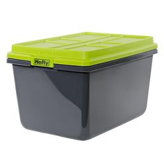 Hefty HI-Rise Grey/Green Tote with Latching Lid at Lowe's. This hi rise pro storage tote with latching lid is ideal for your home storage solutions. Moving Storage Containers, Plastic Storage Totes, Moving And Storage, Tote Storage, Shed Storage, Built In Storage, Storage Spaces, Garage Storage, Pods Moving