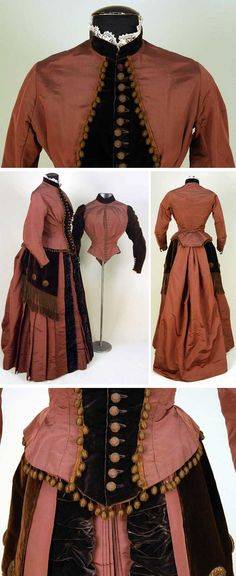 Silk and velvet bustle dress with 2 bodices, ca. Chestnut faille and brown… 1880s Fashion, Edwardian Fashion, Vintage Fashion, Vintage Gowns, Vintage Outfits, Victorian Costume, Victorian Era, Antique Clothing, Historical Clothing