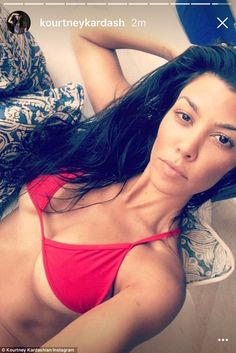 Unafraid of showing off her white bits, Kourtney was seen taking a dip on the Mexican coastline in a bright blue bikini this time, which served only to cover the essentials on Monday during the girls' break.
