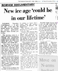 1974 : International Scientific Cooperation Might Slow The Imminent Ice Age Political Correctness Gone Mad, Global Cooling, Climate Warming, Scary Facts, Wii Fit, Environmentalist, Ice Age, Global Warming, Get Over It