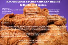 kfc recipe 12 herbs and spices Kfc Chicken Recipe, Chicken Recipes, Fried Chicken, Chicken Batter, Chicken Dips, Kfc Original Recipe, Great Recipes, Favorite Recipes, Good Food