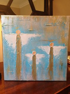 10x10x1.5 Angels on gallery wrapped canvas on Etsy, $85.00