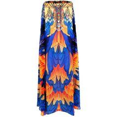 Luxury Printed Long Maxi Skirts | Shahida Parides - Shahida Parides (6,520 MXN) ❤ liked on Polyvore featuring skirts, long skirts, long blue skirt, long patterned skirt, boho maxi skirt and long print skirt