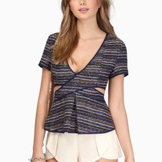 Navy blue short sleeve top BRAND NEW top from Tobi. Never worn. Selling it because it is too small for me, especially in the chest area. {I am a 34DD} Tobi Tops