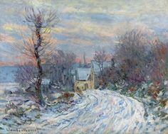 "huariqueje: "" The Road to Giverny in Winter - Claude Monet 1885 Impressionism "" Monet Paintings, Impressionist Paintings, Landscape Paintings, Claude Monet, Painting Snow, Oil Painting For Sale, Painting Classes, Most Expensive Painting, Artist Monet"