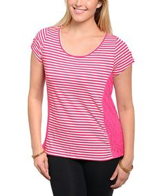 Another great find on #zulily! Pink & White Panel Scoop Neck Top - Plus #zulilyfinds
