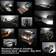 We were very happy to welcome back Margaret for a Wonderful Week of Jewellery making. Margaret wanted to explore fold forming, silversmithing and riveting and here are the beautiful pieces she made.