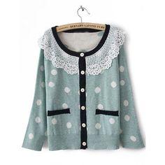Blue Long Sleeve Lace Lapel Pockets Cardigan Sweater