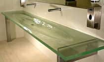 Lavabo de pie / rectangular / de cristal / moderno