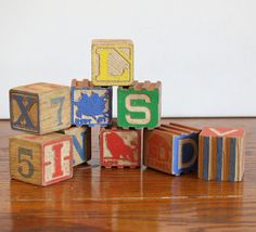 Vintage Wooden Baby Letter Blocks via Etsy