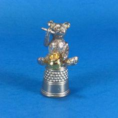 Moveable Teddy Bear Thimble Holding Spoon Honey Pot Embossed Mark HELP