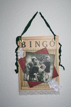 Beautiful Victorian children grace this vintage Bingo card. Cosmo Cricket papers and Prima flowers. Would make a wonderful Christmas accent in any home. Christmas Bingo Cards, Christmas Tag, Christmas Crafts, Christmas Stuff, Christmas Ideas, Christmas Ornaments, Vintage Crafts, Vintage Stuff, Vintage Paper