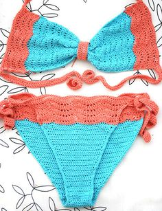 Swimsuit Crochet bikini Turquise salmon swimwear in by MarryG