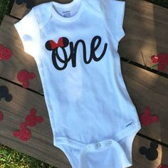 minnie mouse/mickey mouse/disney birthday onesie in a variety of bow color options for the perfect look.