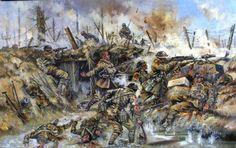1917 Passchendaele (Third Battle of Ypres), Lewis Gunner team - painting by Jason Askew