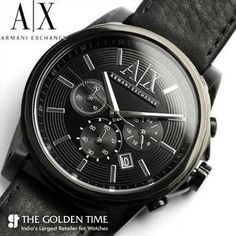 d913b3d4e86f Armani Exchange Watch Men s Black Leather Strap New