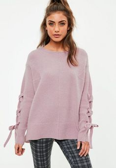 Lilac Soft Touch Lace Up Knitted Jumper, Purple #misguided #jumper #knitted #laceup #purple #pink #fashion #style #love #winterfashion #winter #winteriscoming #gifts #shopping #shoppingonline #onlineshopping #commissionlink  #deanaannegalloway #loveit #fallfashion #fallweather #affordable #pretty #comfy #fall #womens #womensfashion #softtouch #soft
