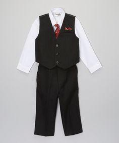 Look at this ClassyKidzShop Black White Four-Piece Vest Set - Infant, Toddler