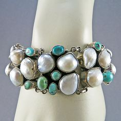 Vintage Sterling Bracelet With Pearls And Turquoise Jewelry Statement Jewelry Silver Jewelry Turquoise Pearl Jewelry Vintage Jewelry on Etsy, $320.21 AUD
