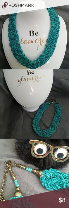 Seed bead collar necklace Good used condition. Perfect with a maxi dress or a solid colored top with leggings and boots for the fall. More for casual wear. Pictures show signs of use such as discoloration of some of the teal beads and tarnishing of Gold Hardware but lots of life left. Feel free to ask any questions prior to purchase. Jewelry Necklaces