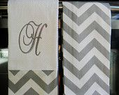 Gray and White Chevron Monogrammed Dish Towels by Designs By Them - These gray and white chevron kitchen towels make a fun statement. Embroidery Monogram, Embroidery Applique, Machine Embroidery Designs, Embroidery Ideas, Dish Towels, Hand Towels, Tea Towels, Chevron Kitchen, Chevron Bathroom