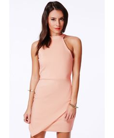 Faustina High Neck Asymmetric Dress - Dresses - Bodycon Dresses - Missguided