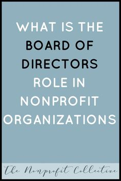 What is the Board of Directors' Role in Nonprofits?