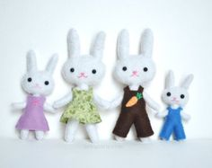 Doll Sewing Pattern Set Of 3 Felt Doll Patterns 3 by DelilahIris