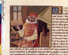Boccacio with a book. From Boccacio, de mulieribus claris/Le livre de femmes nobles et renomées (trad. anonyme), 15-16th century, France (Cognac). Bibliothèque Nationale MS Français 599 fol. 94v