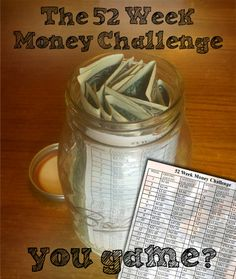 52 Week Money Challenge - put in one dollar the first week and continue to put in each week, amount based on what week of the year it is - at the end of the year, you'll have over thirteen hundred dollars saved!!