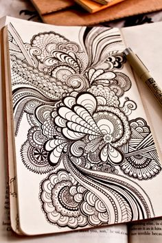 pretty ink pen design sketch