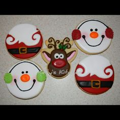 Christmas Sugar Cookies These were the designs I settled on this year for my Christmas sugar cookies. The snowman and reindeer are both. Christmas Donuts, Christmas Sugar Cookies, Christmas Sweets, Christmas Goodies, Holiday Cookies, Christmas Candy, Christmas Baking, Santa Cookies, Cookie Icing