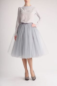Fanfaronada jedwabna bluzka+tiulowa spódnica