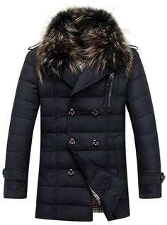Fvogue New Style Fantastic Double-breasted Faux Fur Collar Down Overcoat----------$87.99
