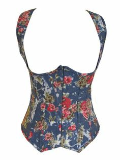 Chicastic Blue Denim Floral Print Strong Boned Corset Lace Up Bustier - Large Chicastic, To enter online shopping Just CLICK on AMAZON right HERE http://www.amazon.com/dp/B00B2OI73U/ref=cm_sw_r_pi_dp_y3jotb1BGXJE0F2K