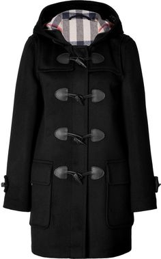 $995, Black Duffle Coat: Burberry Brit Wool Minstead Duffle Coat In Black Check. Sold by STYLEBOP.com. Click for more info: https://lookastic.com/women/shop_items/56212/redirect