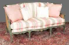 Buy online, view images and see past prices for Louis XV style carved and painted sofa with cane panel ends and back and loose cushions, 73 White Wicker Furniture, Wicker Dresser, Wicker Mirror, Wicker Bedroom, Wicker Table, Wicker Chairs, Couch Furniture, Wicker Baskets, Wicker Man