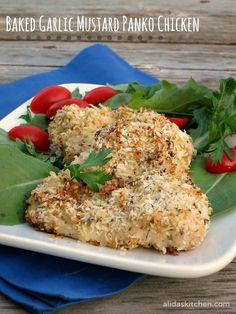 Baked Garlic Mustard Panko Chicken   alidaskitchen.com #recipes #WeekdaySupper