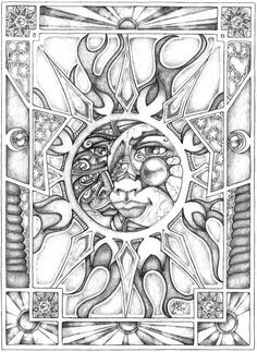 SciFi and Fantasy Art pencil Sun and Moon 1 by Eileen Megan Steinhauer Moon Coloring Pages, Coloring Pages For Grown Ups, Detailed Coloring Pages, Printable Adult Coloring Pages, Coloring Books, Copics, Colorful Pictures, Sketches, Drawings