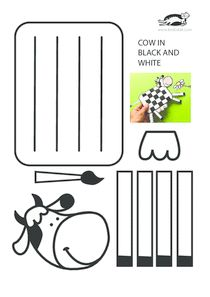 Cow in black and white – craft fun – creative arts Farm Animal Crafts, Animal Crafts For Kids, Cow Craft, Art N Craft, Summer Crafts, Fun Crafts, Paper Crafts, Paper Toys, Paper Weaving