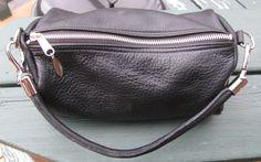 Black+Leather+Barrel+Handbag