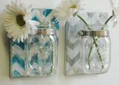 YOU PICK Chevron Wall Decor Pair Two Mason jars mounted on recycled wood shabby chic rustic wall decor on Etsy, $27.00