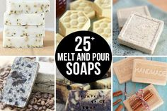 25+ Melt and Pour Soaps to inspire you!  From lavender to oatmeal, milk based or clear... the possibilities are endless. They make great gifts too!