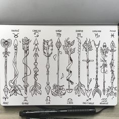 Zodiac Arrows✨ (complete set) PLEASE READ❗️ If you want to use any of these as a tattoo you have my permission and I would love to see it! Also I'm really out of time rn but I might still color them. :-) #zodiac #arrow #tattoo #tattoodesign #sketchbook #leuchtturm1917 #ink #drawing #illustration #art #numerologymemes