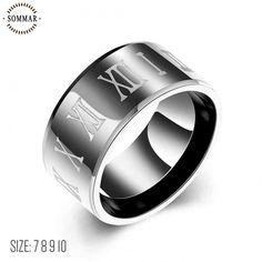 Lose Money Promotions! Titanium Steel engagement ring Roman numerals men finger ring 7 8 9 10 prices in euros jewellery #Affiliate