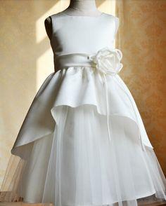 Lace Cupcake Flower Girl Dress Flower Sash Junior Bridesmaid Dress Toddler Kids Dress for Wedding