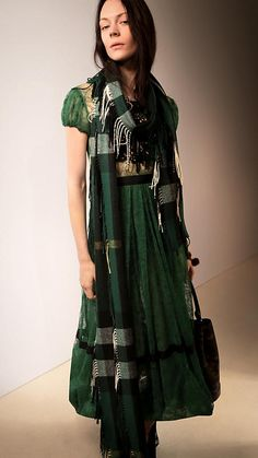 Burberry Deep green The Long Fringe Scarf in Check Cashmere - I want the whole outfit please.