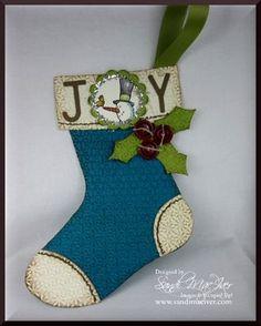 Holiday Stocking, blue and vanilla