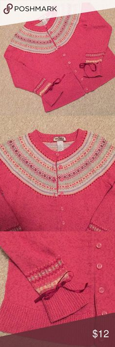 Tiara International Button Up Cardigan Sweater Pink and blue cardigan women's sweater. 55% Ramie, 45% Cotton. Size small, short waist length. Ribbon accent ties at sleeve wrists. Adorable Winter sweater. Great condition. Tiara International Sweaters Cardigans